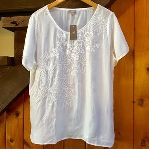 NWT J JILL White embroidered rayon top